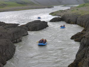 Rafts on river