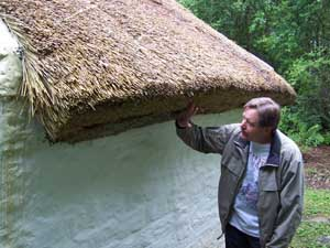 Mark checks out the sod roof