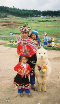 Andean woman and children